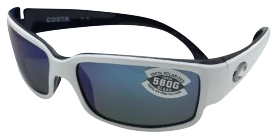 13a7dd9e6732 Costa Del Mar Polarized COSTA Sunglasses CABALLITO CL 30 White-Black w/  Blue Mirror ...
