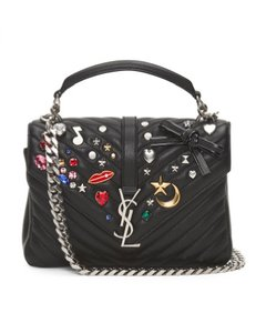Saint Laurent College Matelasse Embellished Shoulder Bag