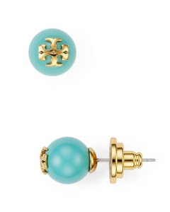 Tory Burch Tory Burch Evie Blue Falls Pearl Studs 16k Gold T Logo Earrings