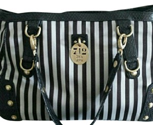Henri Bendel Striped Satin Leather Large Shoulder Bag