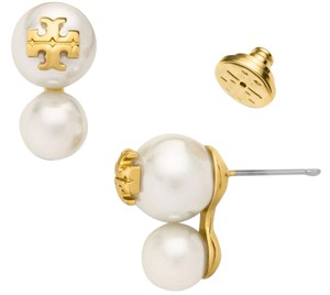 Tory Burch NEW Tory Burch Evie Crystal Double Pearl Studs Ivory 16k