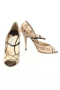 Jimmy Choo Snakeskin Formal Like New Cream with Brown Pumps