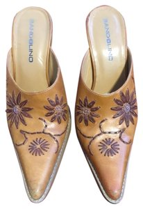 Bandolino Cowboy Boots Studded Brown Mules