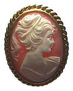 Vintage Gold Filled Huge Cameo Brooch
