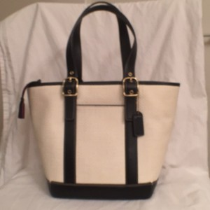 Coach Leather Satchel Woven Tote in Black & Ivory (White)