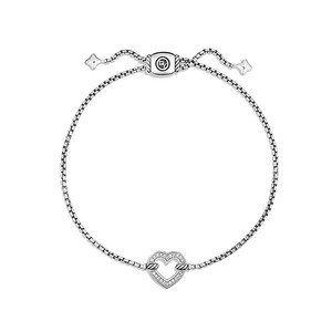 David Yurman silver Cable Collectibles Heart Station Bracelet with Diamonds