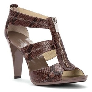 Michael Kors Leather Snake Open Toe Strappy Grey Sandals
