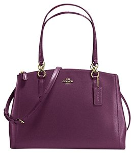 Coach Leather Black Carryall Satchel in PURPLE
