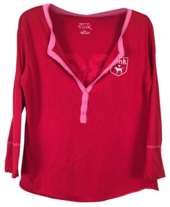 PINK Victoria's Secret Pj Cotton Pajamas T Shirt Red and pink