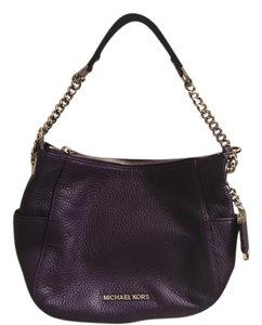 Michael Kors Silver Chain Handles Genuine Leather Leather Tote in Purple
