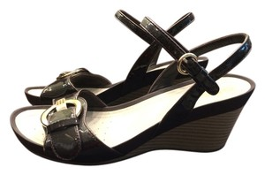 Geox Resperia Brown Patent Leather Wedges