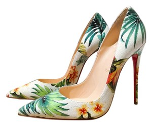 Christian Louboutin So Kate So Kate Louboutin Size 38.5 White Floral Multi-Color Hawaii Pumps
