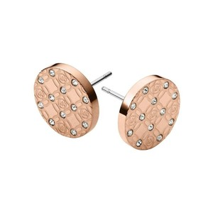 Michael Kors Michael Kors Rose Gold Heritage Monogram Etched Logo Stud Earrings