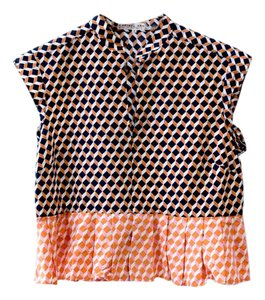APIECE APART Patterned Crop Deep V Designer Pleated Top Muticolor Pattern