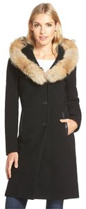 Mackage Coyote Fur Leather Wool Blend Fur Coat