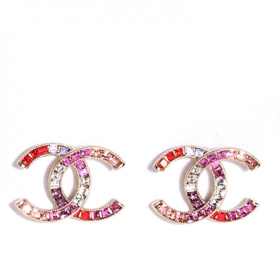 Chanel Cc Logo Valentines Baguette Crystal Red Pink Gold Clic 15s Pierced