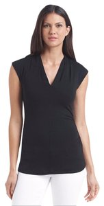 Vince Camuto V-neck Ruched Cap Sleeves Top Rich Black