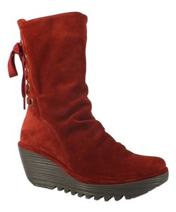 FLY London Suede Wedge Corset Red Boots