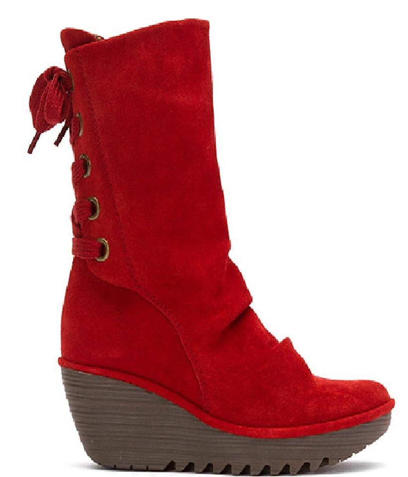 503e63e9702 FLY London Red Yada Suede Corset Back Mid Calf New 38 Boots/Booties Size US  7.5 Regular (M, B) 45% off retail