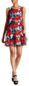 ECI New York short dress Red & Blue Floral Trapeze Cut Out Back Sleeveless on Tradesy