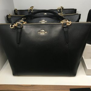 Coach Satchel Leather Satchel Tote in black