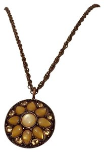 1928 Copper Rose Tone 1928 Floral Rhinestone Crystal Necklace