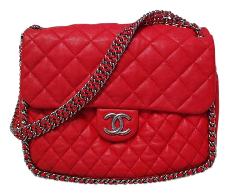 1c4949681b42 Chanel Chain Around Maxi Lambskin Quilted Rare Red Leather Shoulder Bag