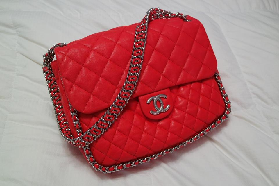 1be6e2c5b9a1 Chanel Chain Around Maxi Lambskin Quilted Rare Red Leather Shoulder Bag -  Tradesy