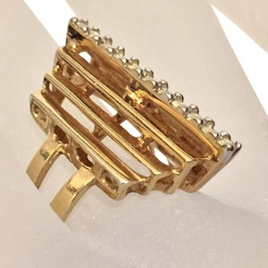 Other 18k Gold Plated Statement Cocktail Crystal Geometric Ring
