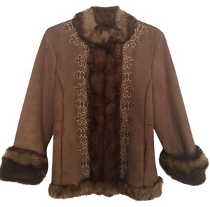 Nine West Faux Fur Fur Trim Suede Coat