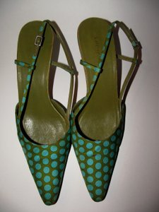 Kate Spade Made In Italy Womens Heels Casual Polka Dot 1950s Summer Resort Style Resort Vacation Blue Size 10 Designer Green Mules