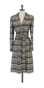 St. John Black Gold Plaid Belted Coat