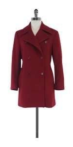 Max Mara Brick Red Wool Pea Coat
