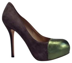 Acne Studios Gray / Metallic Green Platforms