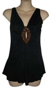 Seven7 Beads Sequins A-line Black Halter Top