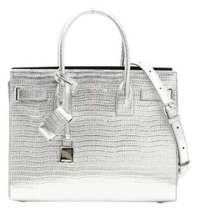 Saint Laurent Sac De Jour Metallic Toe Crossbody Ysl Tote in Silver