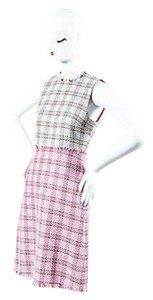 Gucci Blue Metallic Silver Pink Tweed Fringed Fit Flare Dress