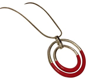 Xc Xc Red Rubber Detail Circle Geometric Pendant Silver Tone Necklace