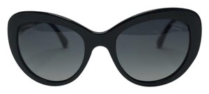 Chanel CHANEL Black Cat Eye Polarized Tweed Metal with Enamel Sunglasses