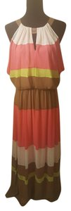 Pink, Neon Yellow, Beige/Brown Maxi Dress by Vince Camuto Maxi Color-blocking Bright Keyhole