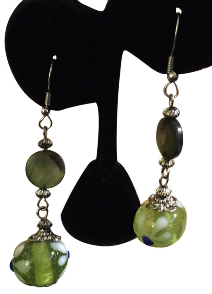 Murano Green Vintage Mop Disc Glass Bead Dangle Silver Wire Earrings ...