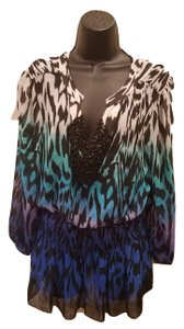 Chaus Animal Print Beaded Sheer Top Blue Purple White Black