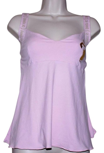 Item - Pink Gold Accent Cotton Blend Spaghetti Strap Women Tank Top/Cami Size 4 (S)