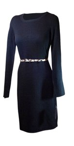 Vince Camuto Longsleeve Solid Crew Belted Dress