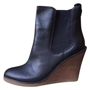 Lucky Brand Leather Wedge Black Boots