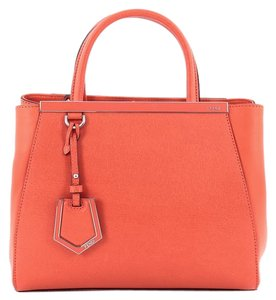 Fendi Leather Tote in Red Orange