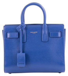 Saint Laurent Leather Tote in Royal Blue