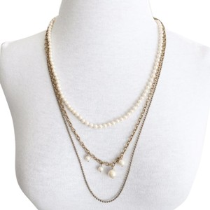 J.Crew Gold Tone Triple Tier Pearl Long Statement Chain Link Deco Necklace