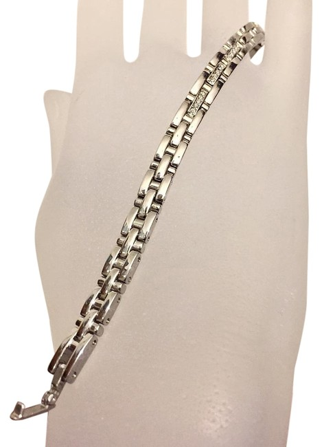 Item - Silver Stainless Steel Faux Diamond Watch Band Bracelet