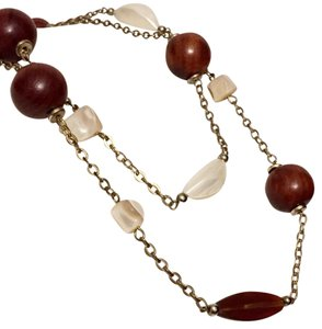 Cookie Lee Cookie Lee Long Single Or Double Wrap Wood Bead Strand Necklace